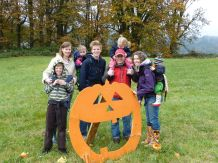 Pumpkin picking with the Bacon-Gershmans at [cloudy, muddy] Oxbow Farm.