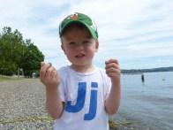 Throwing rocks in the lake.
