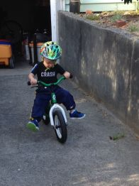 The shirt says it all: his new favorite game in bike riding is coasting down our little hill.