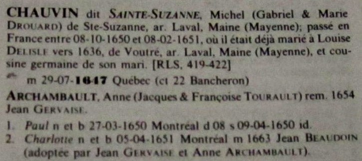 Chauvin-Archambault family, Jetté's Dictionnaire