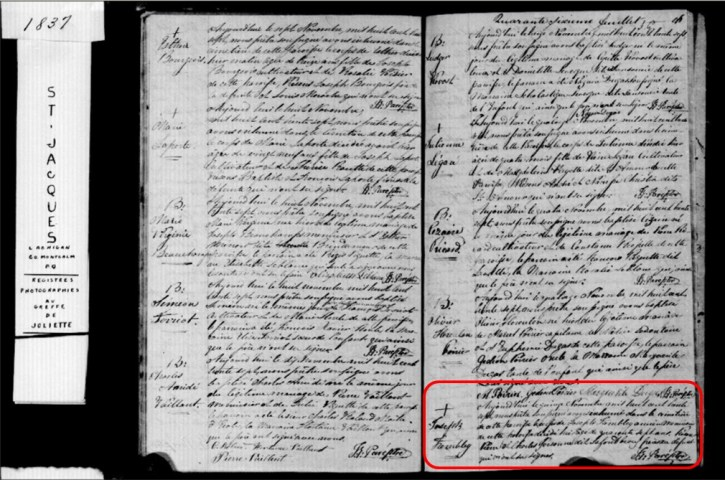 Joseph Tremblay burial record in parish register