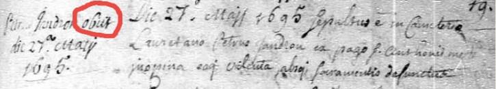 Burial record in Latin