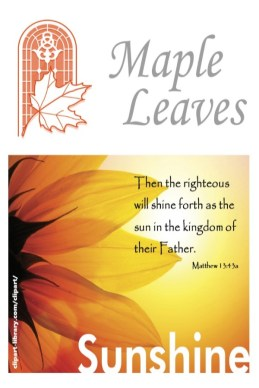 Maple Leaves cover for August 2021 with illuminated sunflower