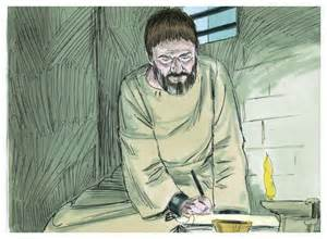 Drawing of Paul in a jail cell writing a letter