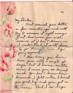 Page One of a 1946 love letter.