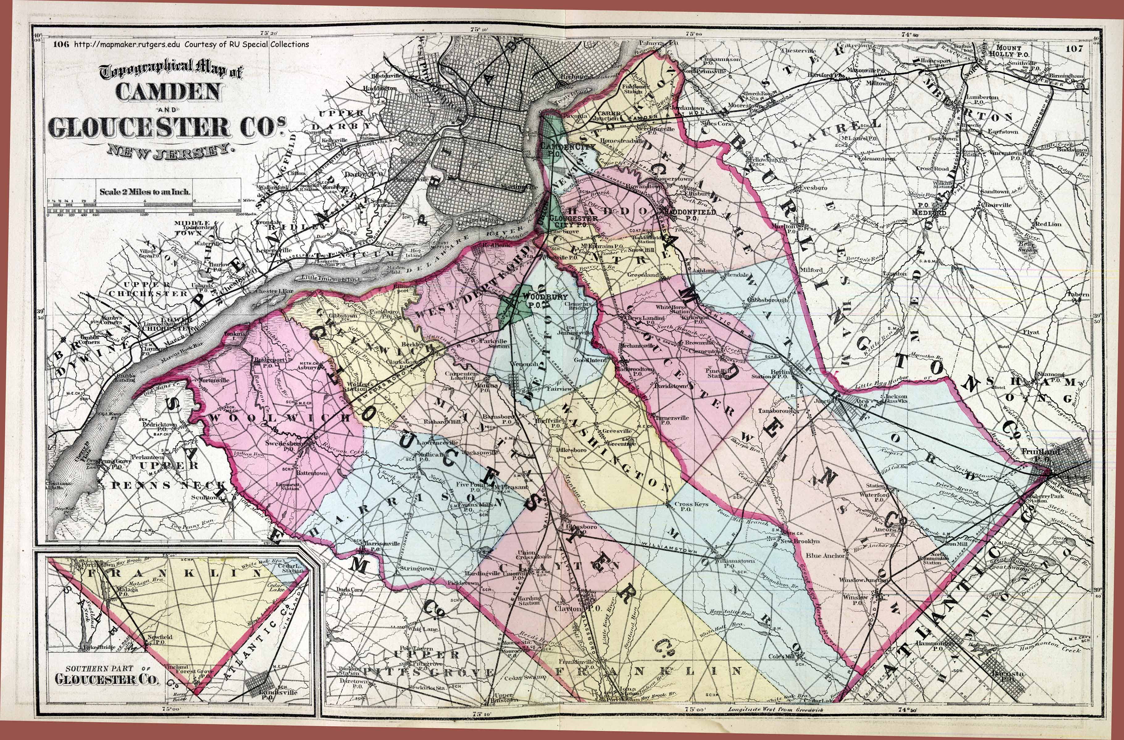 New Jersey Historical Maps CAMDEN   GLOUCESTER COUNTIES