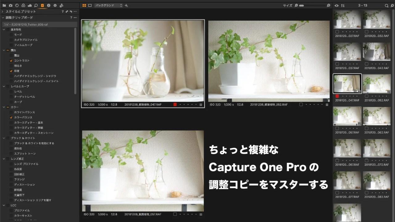 Capture One Pro 12の調整クリップボード