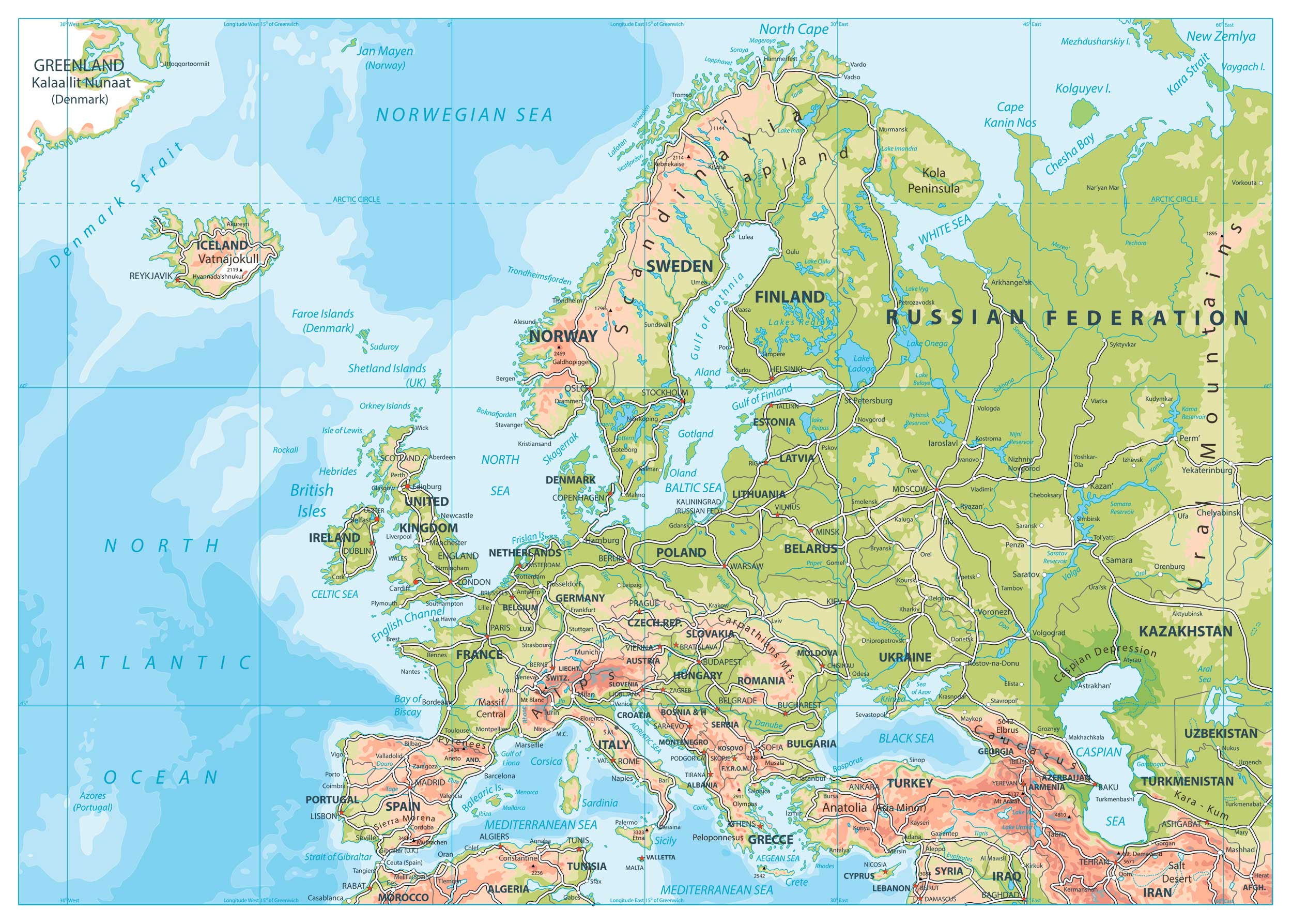 Road Map Of Europe Map Of Europe Europe Map