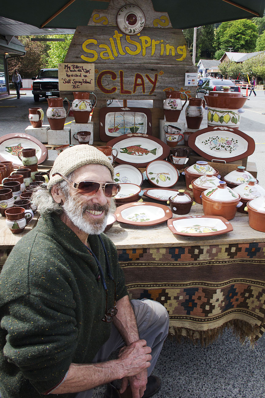 Local pottery for sale at the Salt Spring Saturday Market