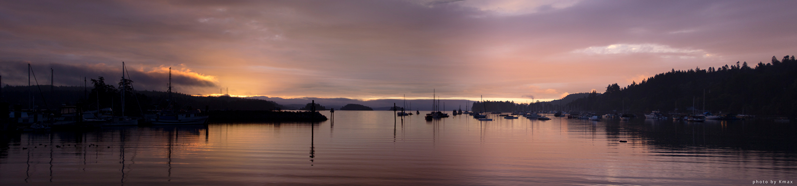 Sunrise over Ganges Harbour, Salt Spring Island, BC