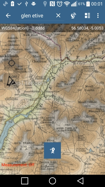 Offline Map - Glen Etive area UK (zoomed in)