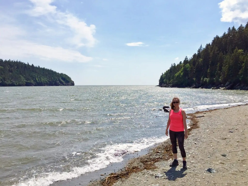 hiker at Fundy National Park in New Brunswick, Canada