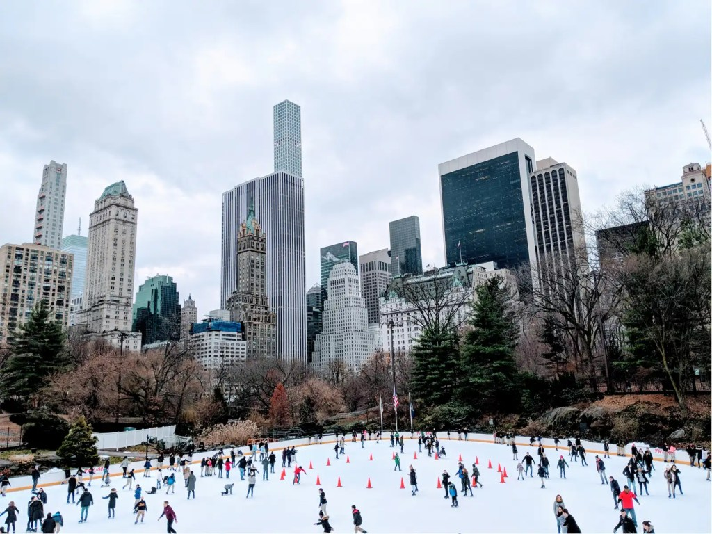 skaters on Wollman Skating Rink in Central Park, New York City during the holidays