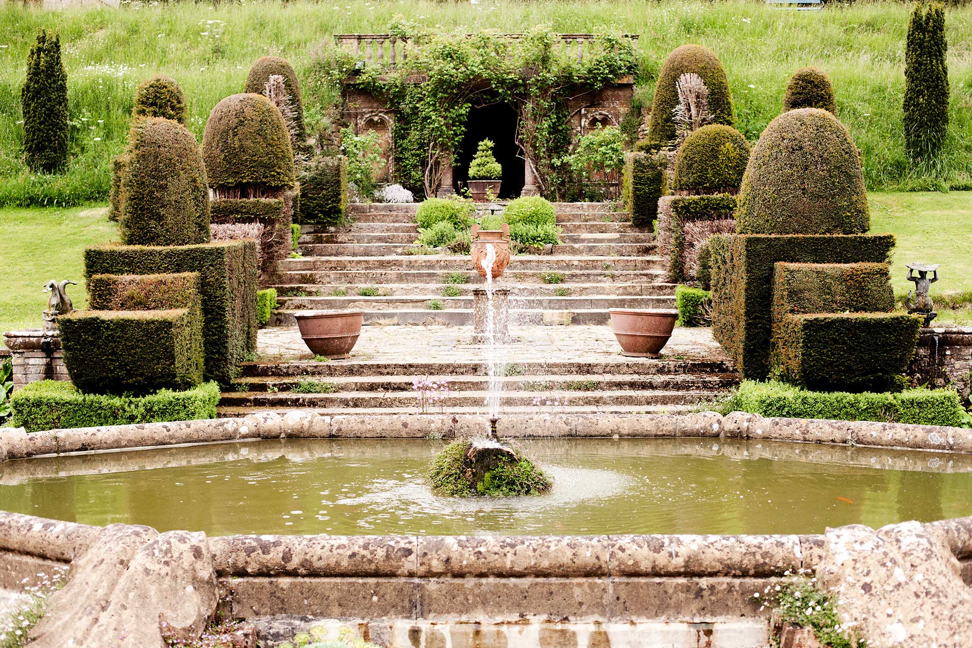 The Fountain in the middle of Mapperton Gardens - Dorset wedding venue