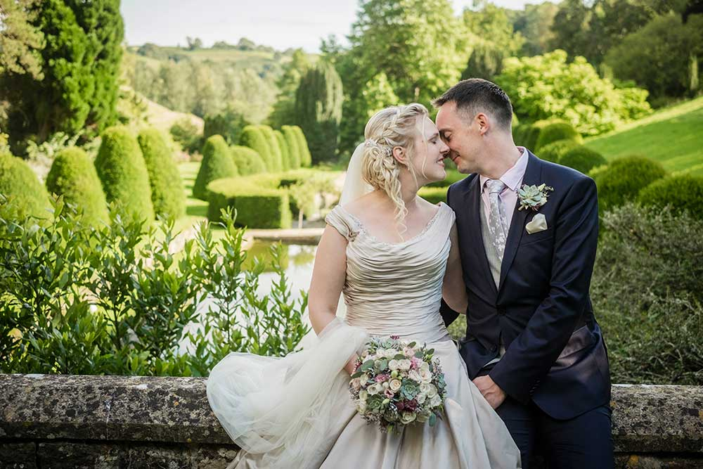 Newlywed couple in Mapperton Gardens