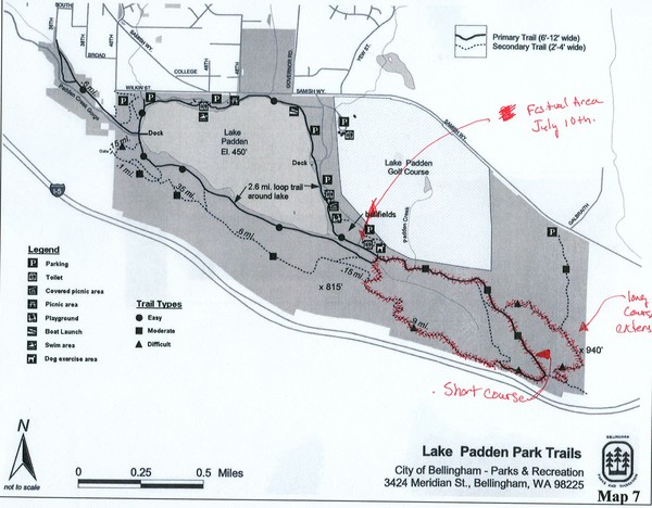 map of the trails around lake padden