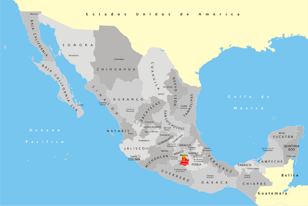 View LocationView Map. click for. Fullsize Mexico States Map