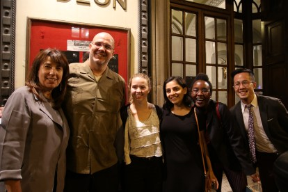 Toscano, Herbert, and Yapp with students at Odeon.