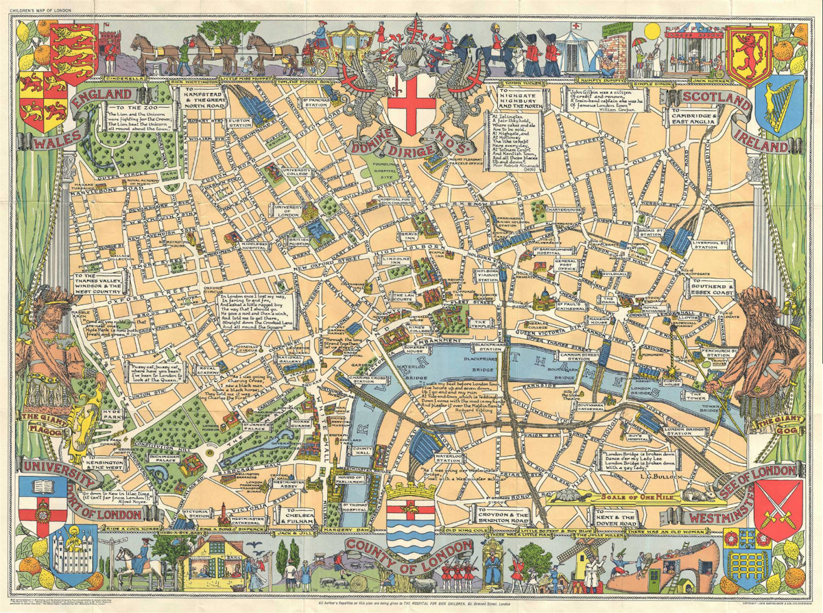Children s Map of London   Mapping London The Children s Map of London  sometimes called the Children s Pictorial Map  of London  was drawn by Leslie Bullock and first published by Bartholomew  in