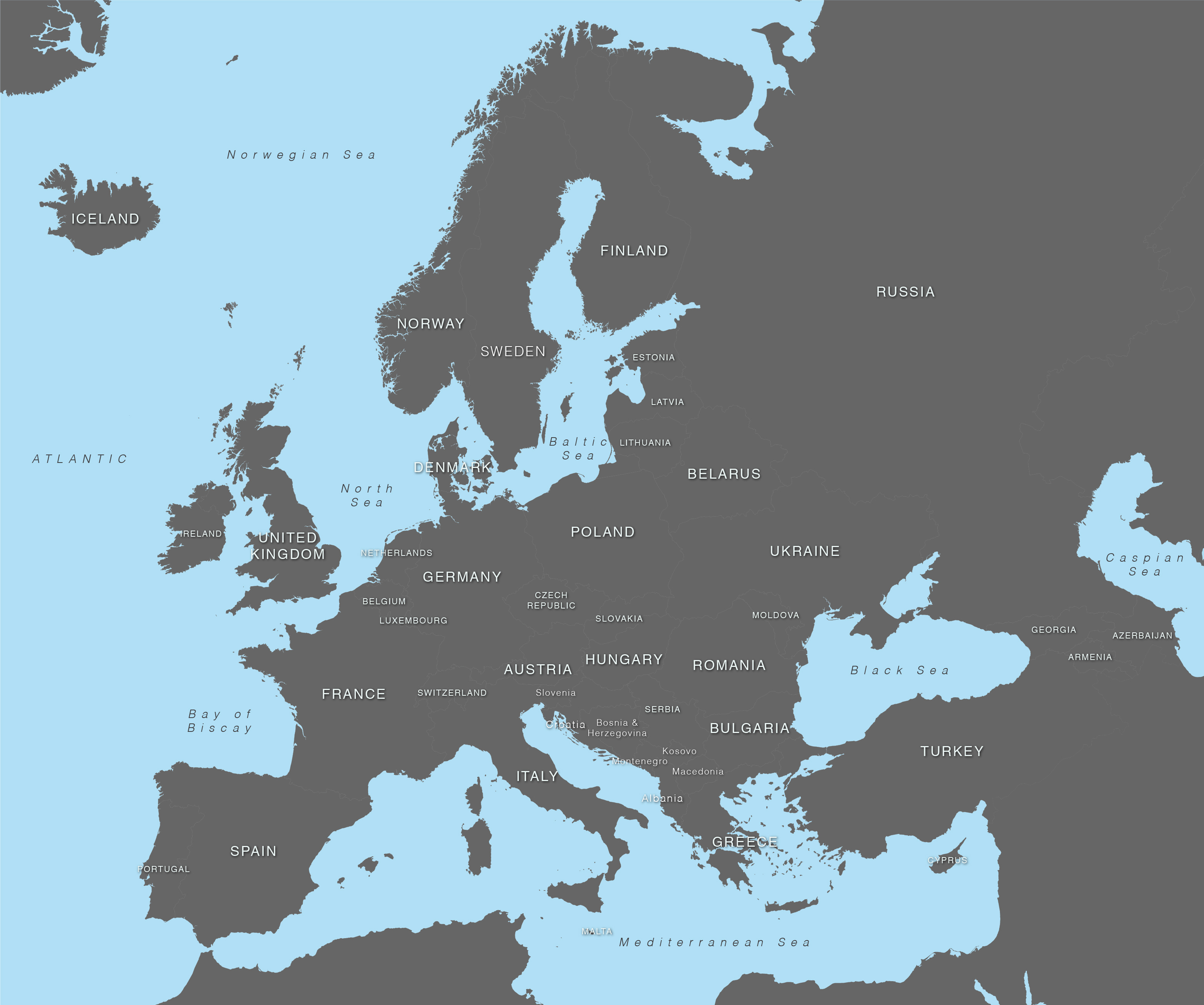Vector Map Of Europe With Countries Illustrator Svg