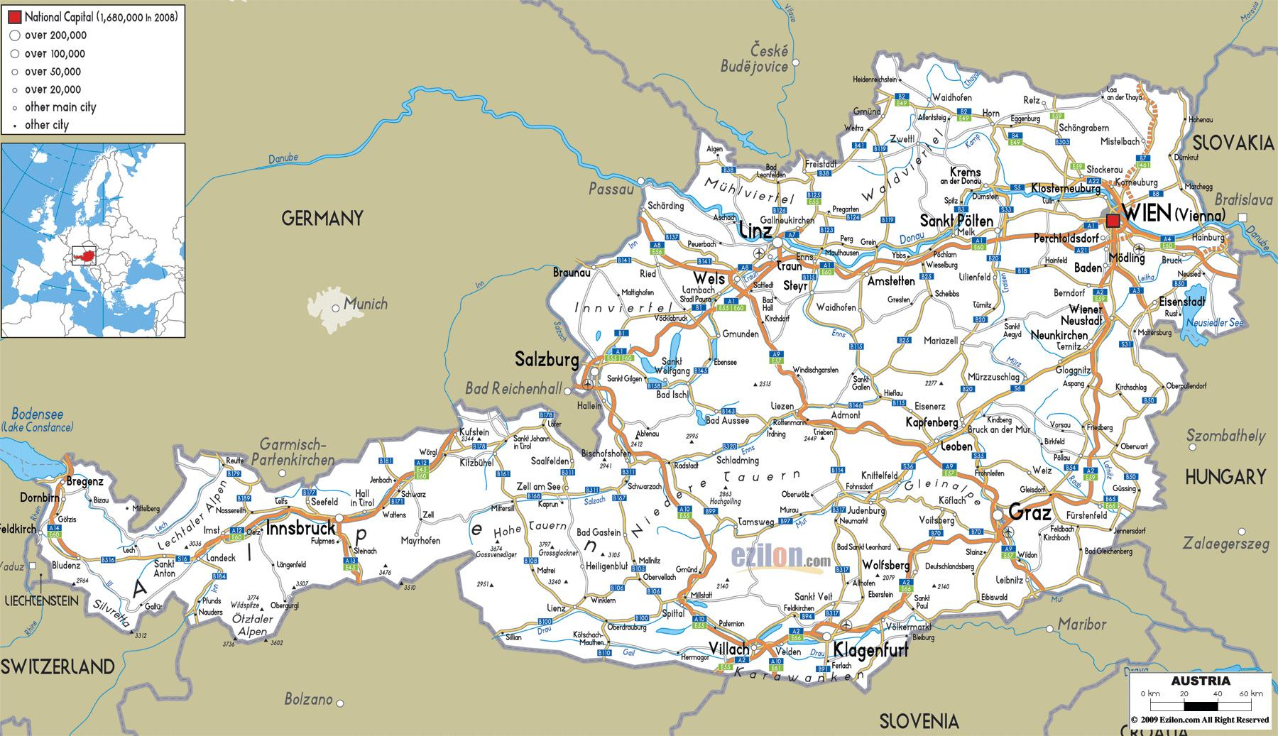 Austria Cities Map Detailed Map Of Austria With Cities Western Europe Europe