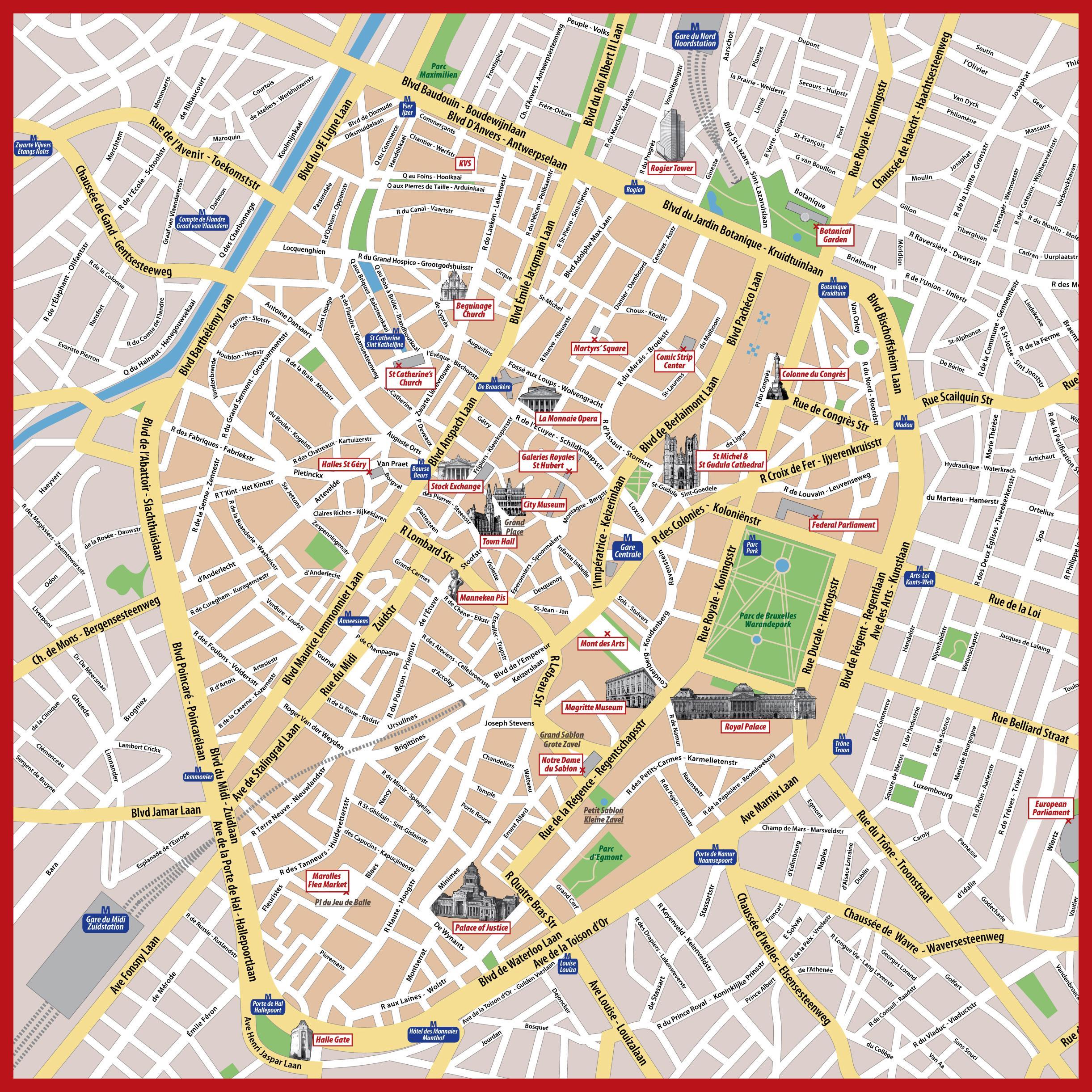 brussels city map tourist brussels belgium brussels » Path ...