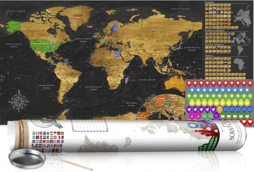 Weltkarte Ausrubbeln Reiseerinnerungen Geschenk Reisen
