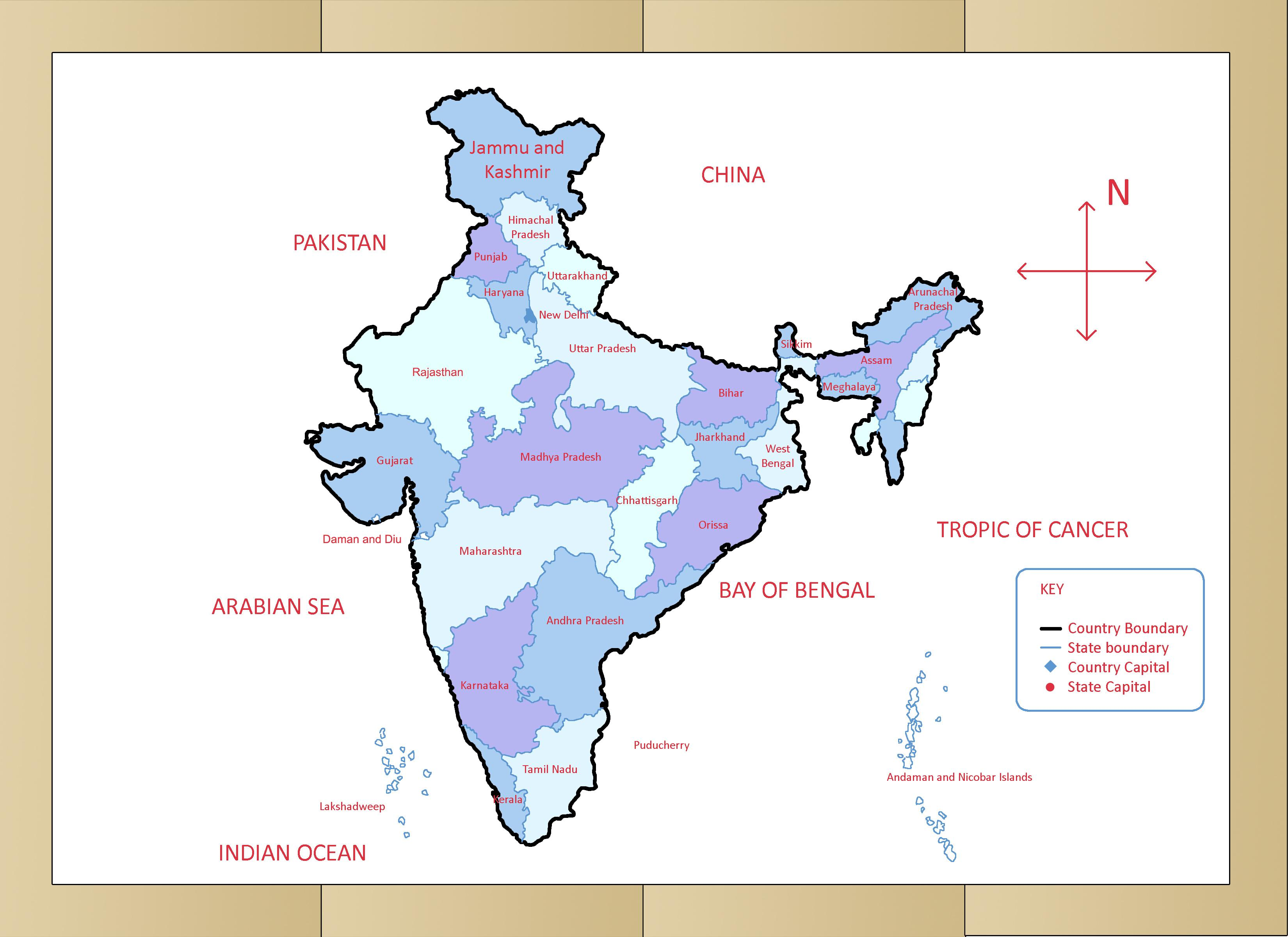 Map Of India With Directions