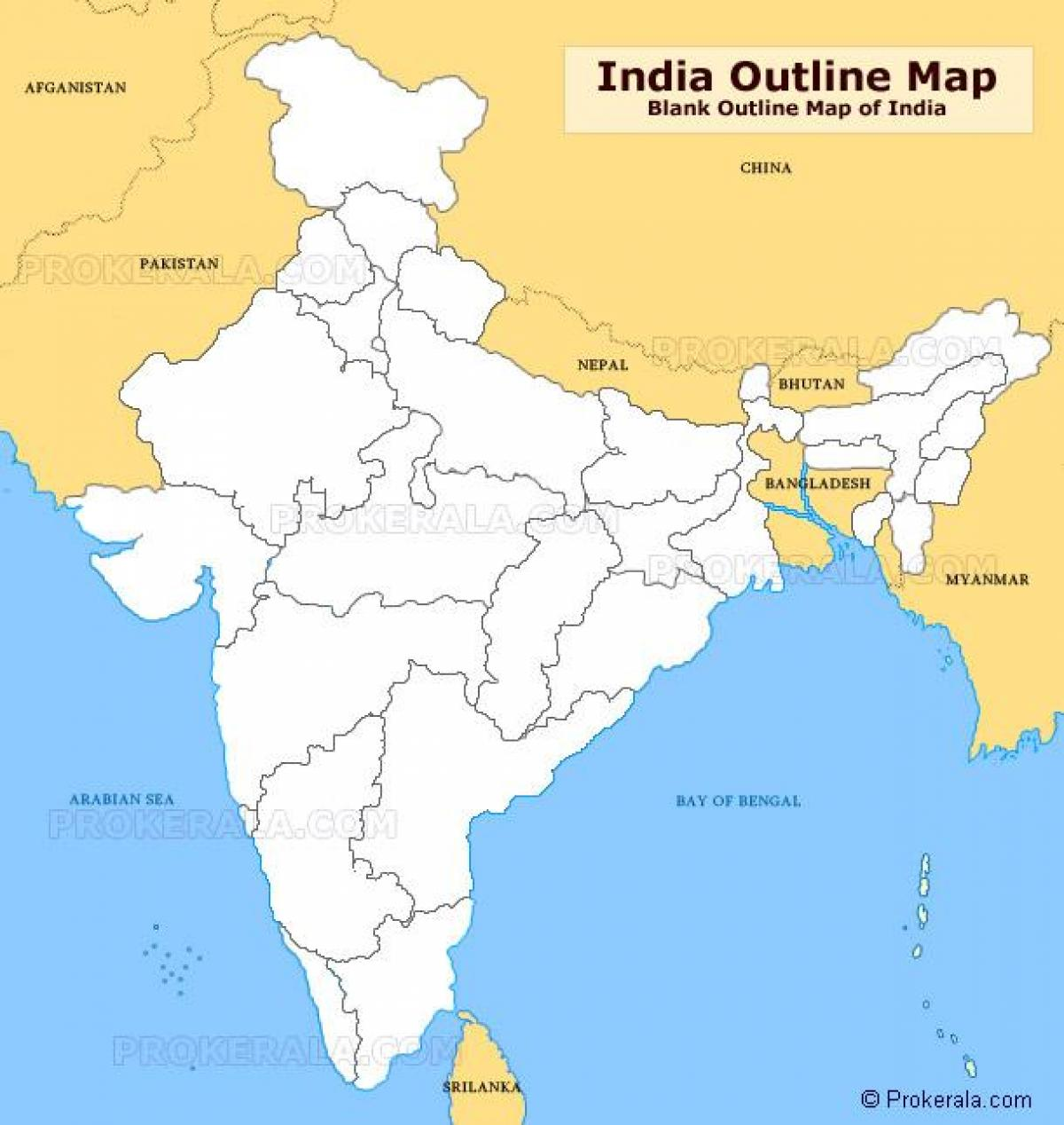 Blank Outline Map Of India
