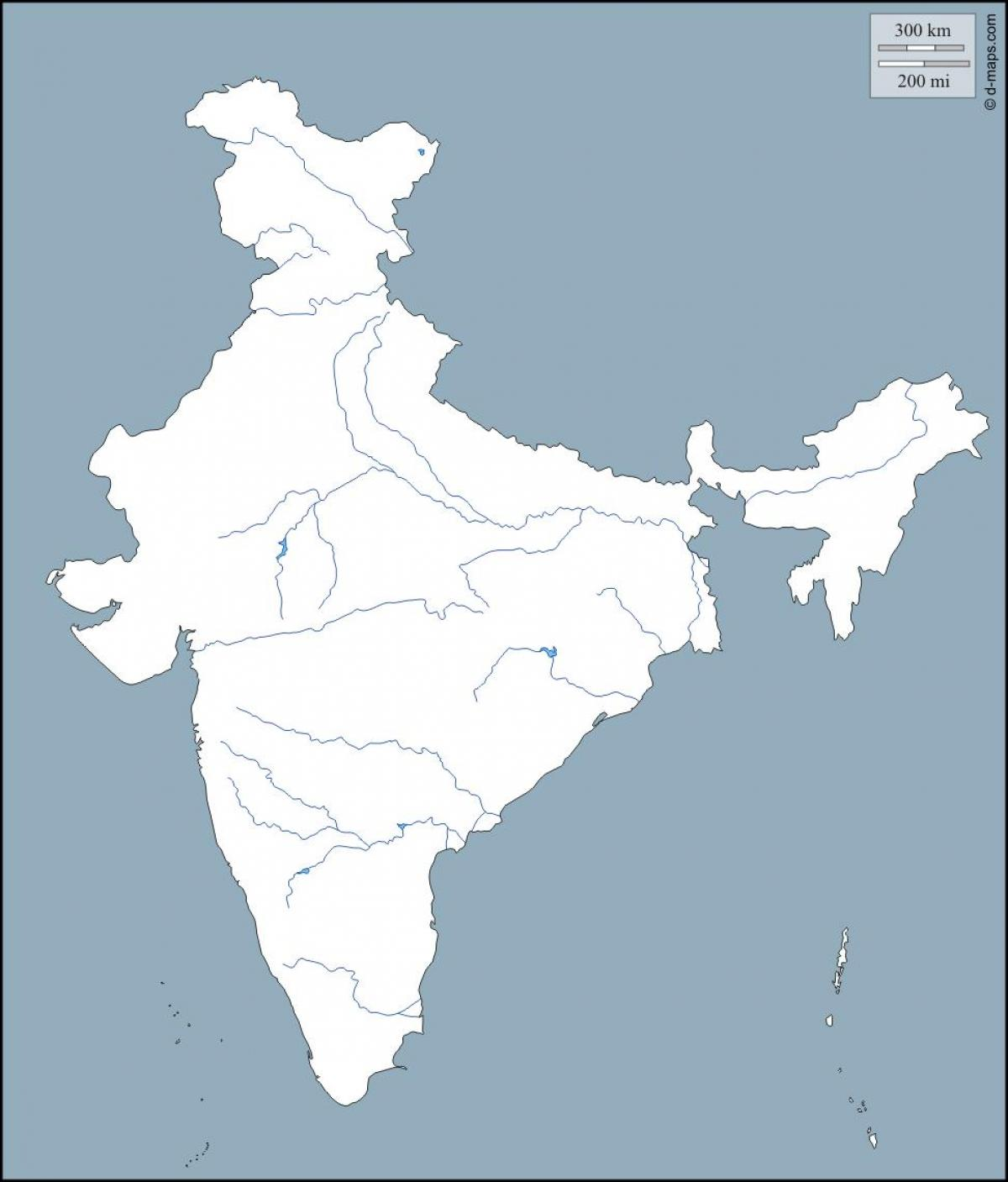 Blank River Map Of India