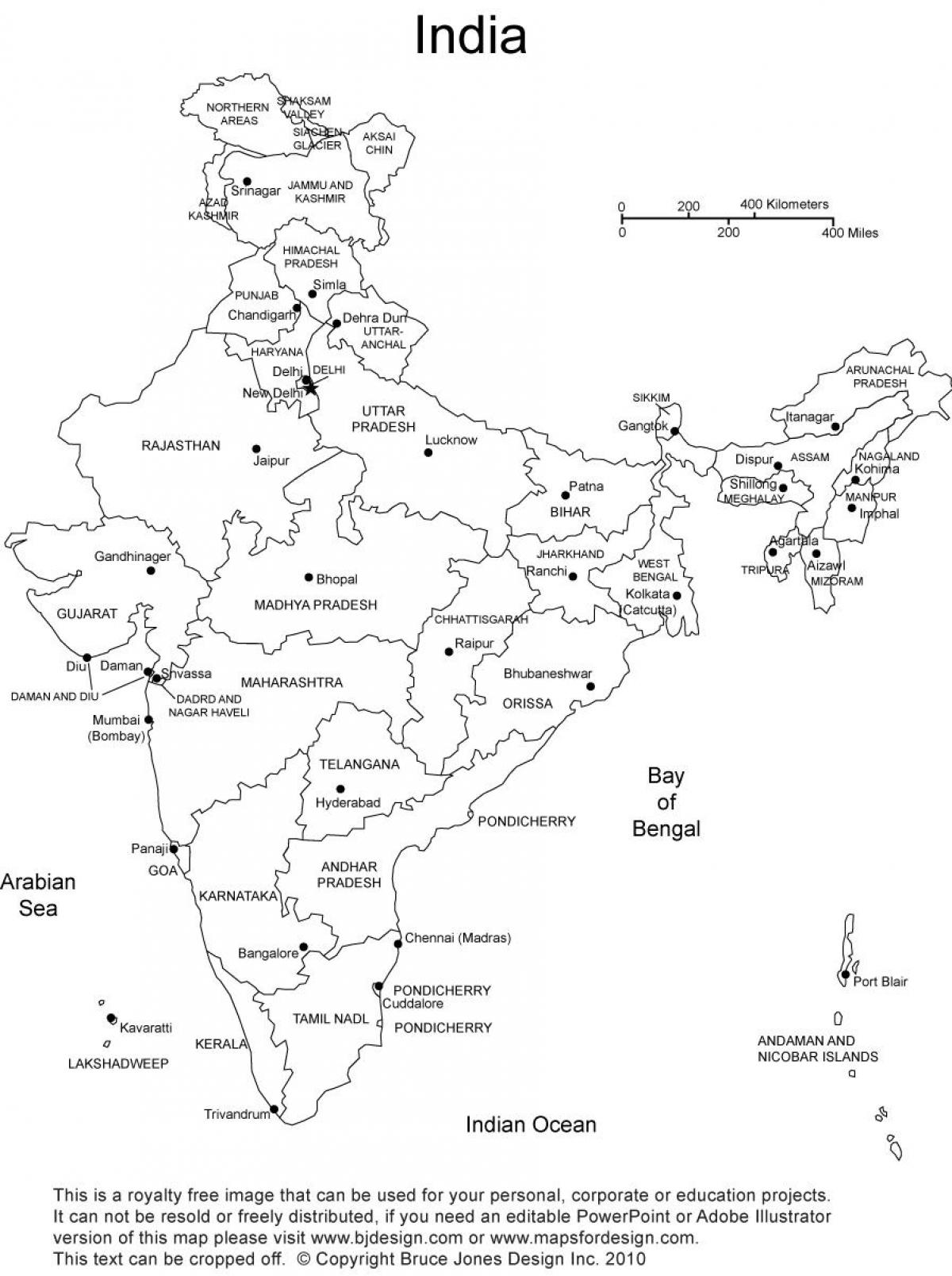 India Map With States Blank