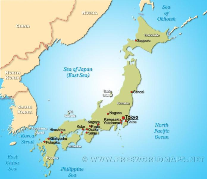 Map of japan   Japan on map  Eastern Asia   Asia  japan on map