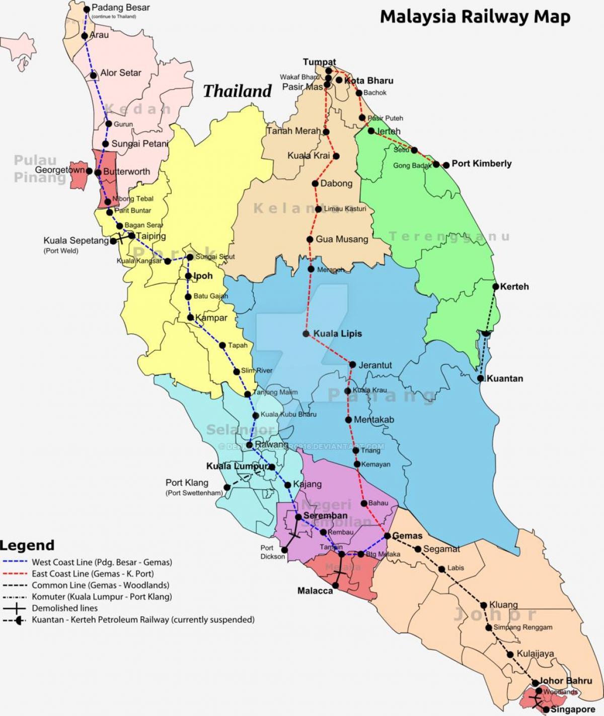 Malaysia railway map - Train map of malaysia (South-Eastern Asia - Asia)