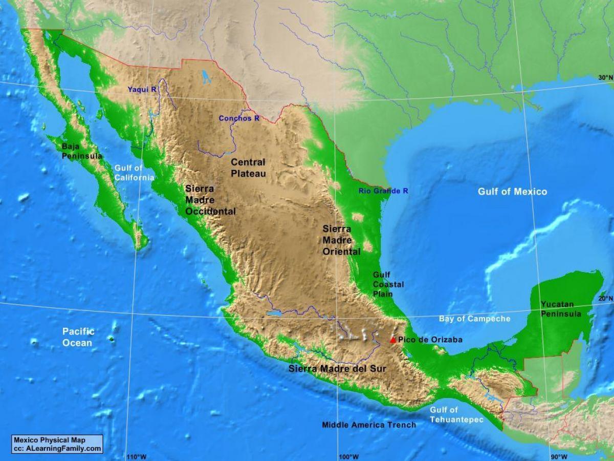 Mexico Landforms Map