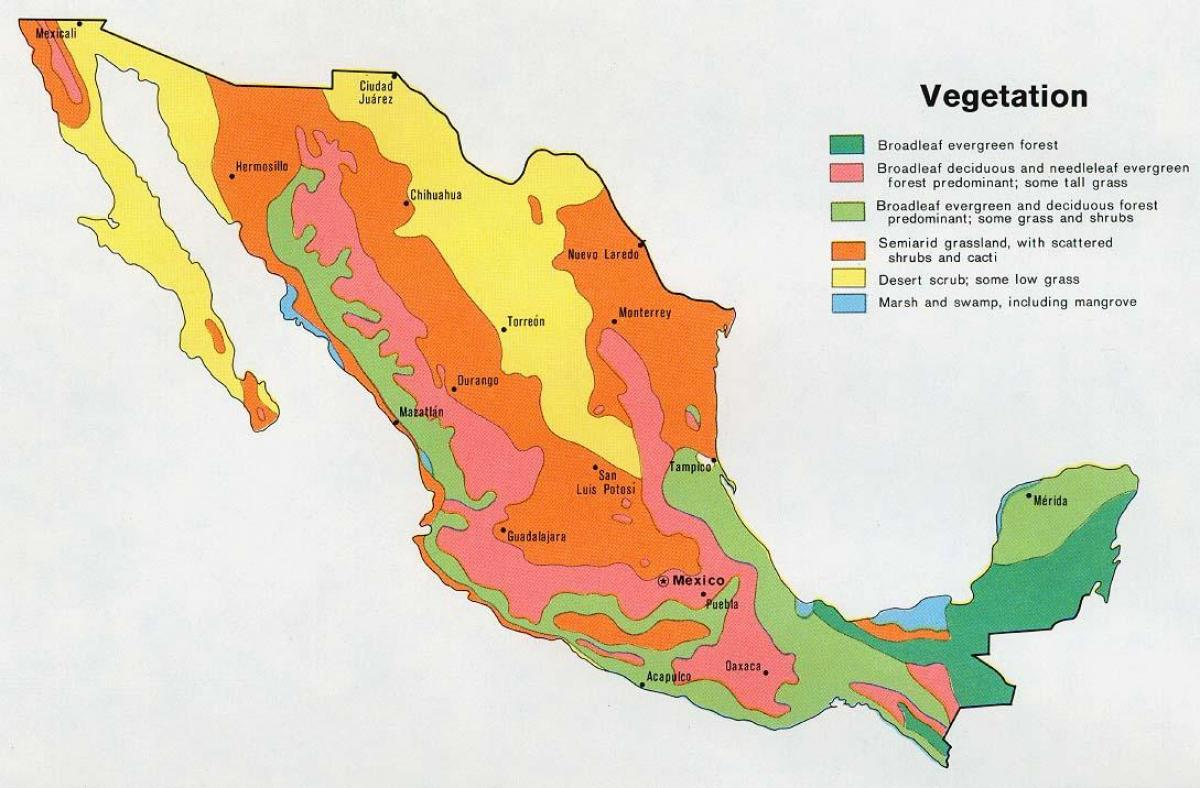 Mexico Natural Resources Map