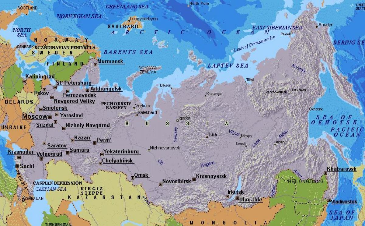 Map Moscow Sochi And Russia