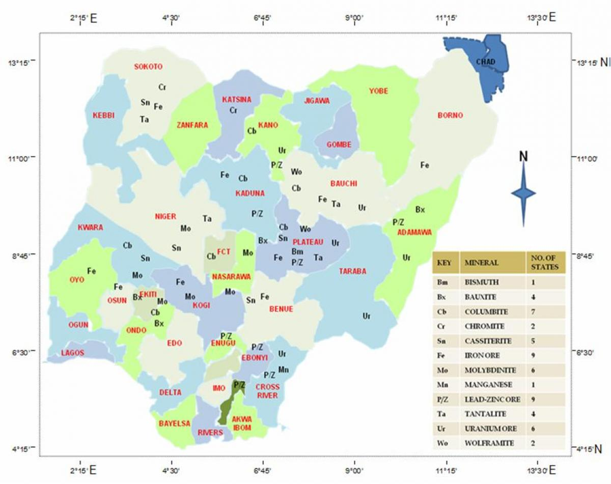 Map Of Nigeria Showing Natural Resources