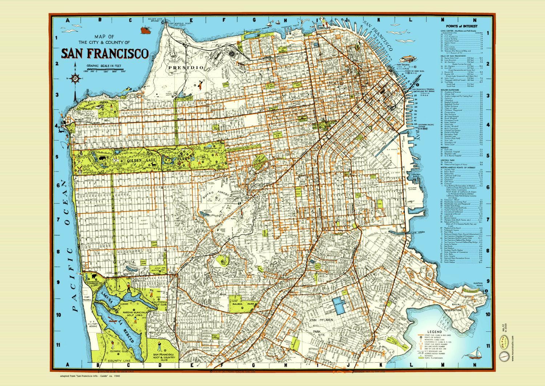san francisco street map poster map