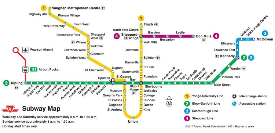 Subway map Toronto   Ttc subway map Toronto  Canada  Ttc subway map Toronto