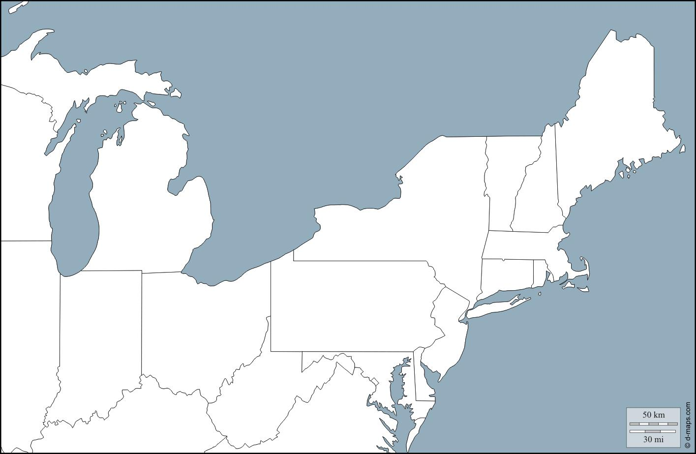 Interstate highways have a bright red solid line symbol. North East Us Map Map Of The North East States Northern America Americas