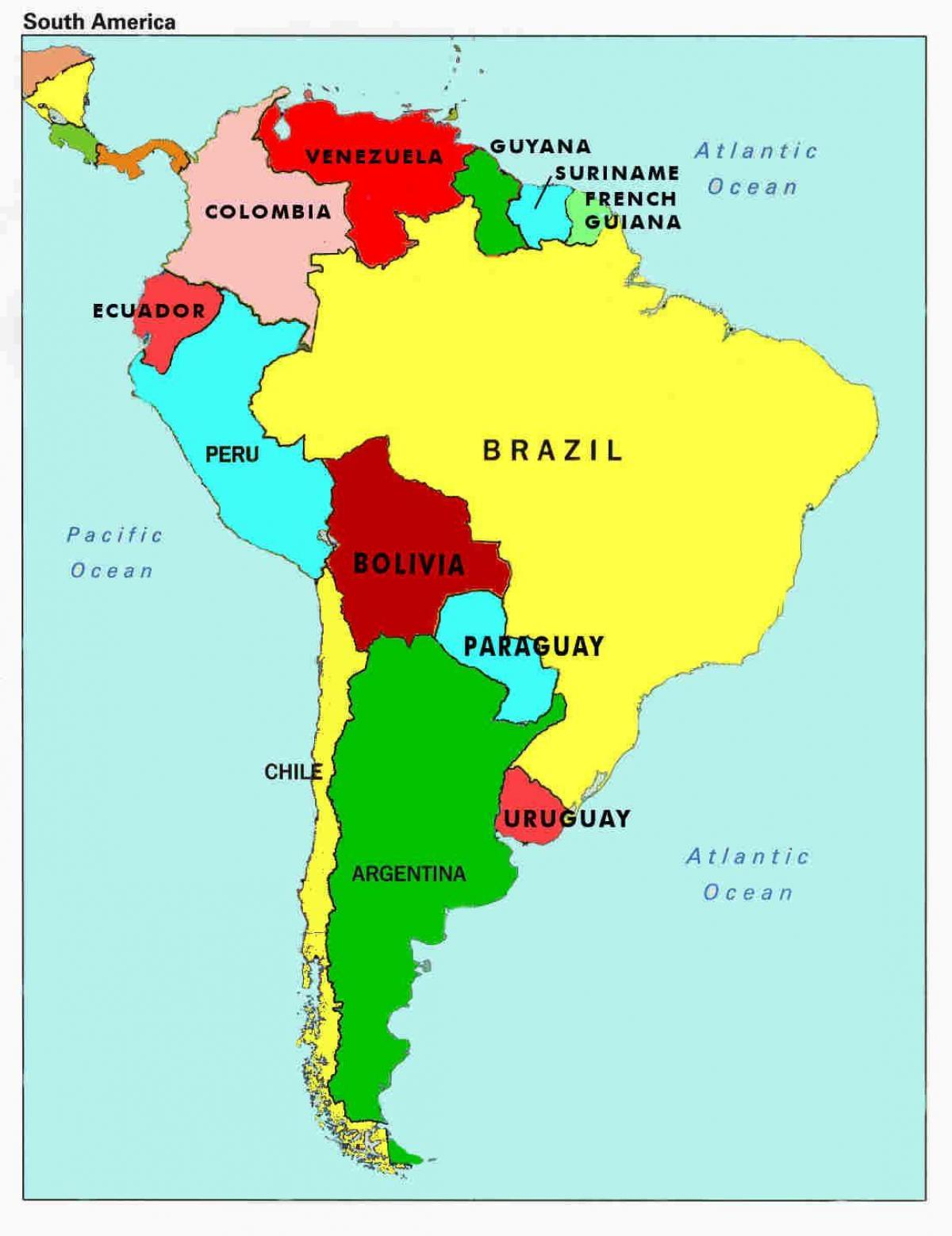 Fill South America Countries Map Printable