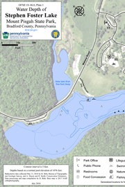 8 miles 14 kilometers of trail; Open File Miscellaneous Investigation 18 06 0 Water Depth Of Stephen Foster Lake Mount Pisgah State Park Bradford County Pennsylvania By Behr Rose Anna 2018 Suggested Citation Behr Rose Anna 2018 Water Depth Of Stephen Foster Lake