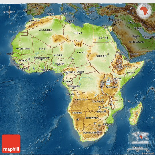 Physical 3D Map of Africa  darken 2D