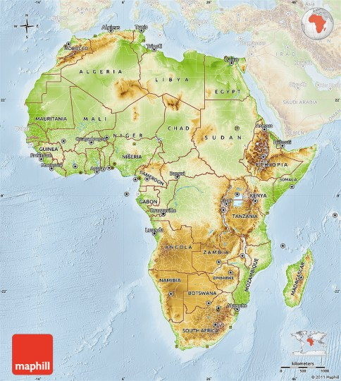 map of africa physical     lighten physical map of africa