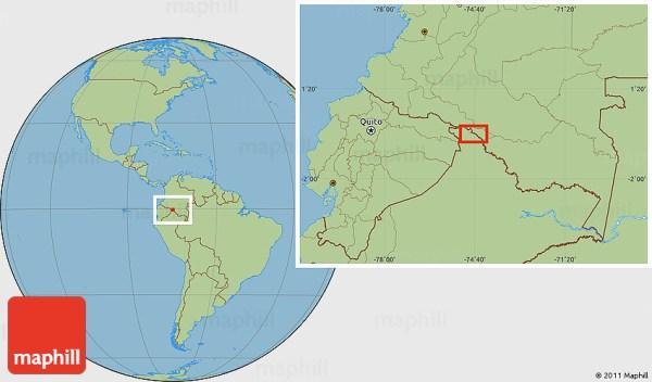Savanna Style Location Map of Puerto Leguízamo