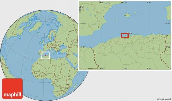 Savanna Style Location Map of Algiers