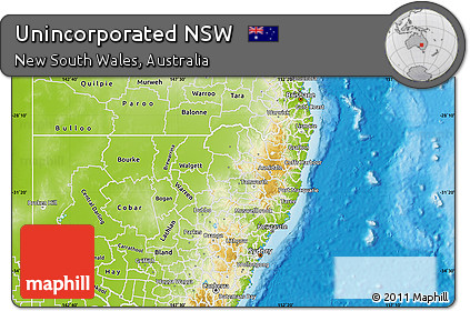 Free Physical Map of Unincorporated NSW     Physical Map of Unincorporated NSW
