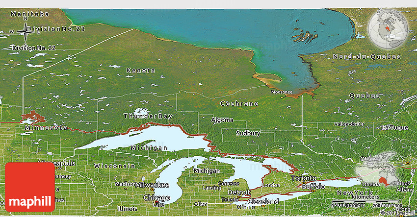 Satellite Panoramic Map of Ontario 2D