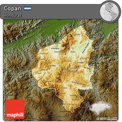 Physical Map of Copan, darken