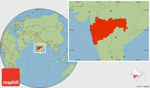 Savanna Style Location Map of Maharashtra